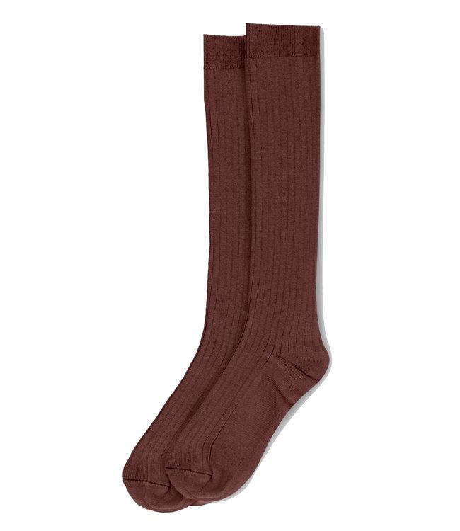 Rib long socks - garnet