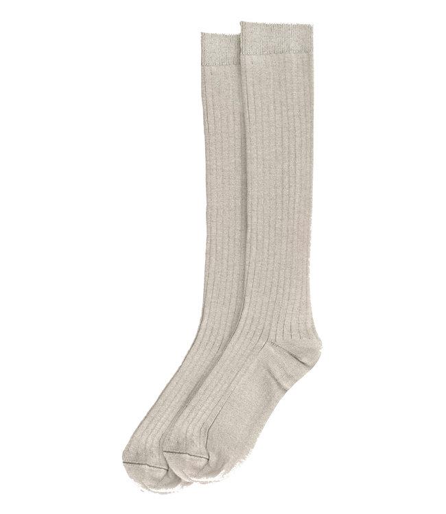 Rib long socks - stone