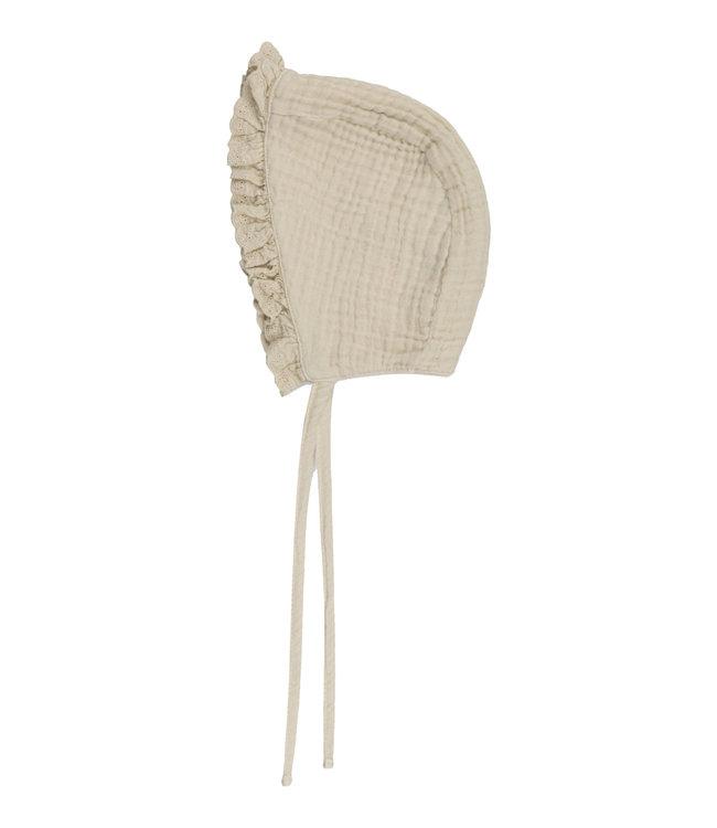 Alexia baby bonnet lace - stone
