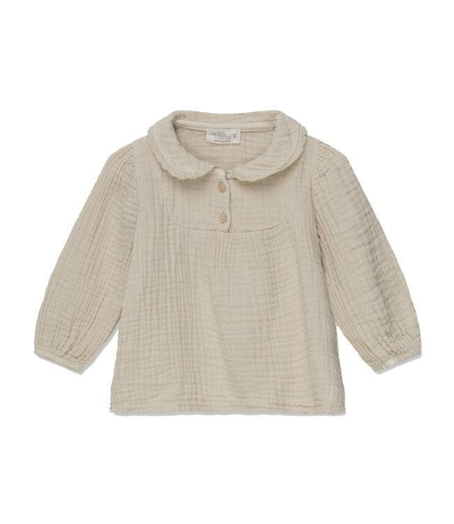 Maria organic baby blouse - stone