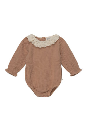 My little cozmo Julie organic baby lace romper - pink