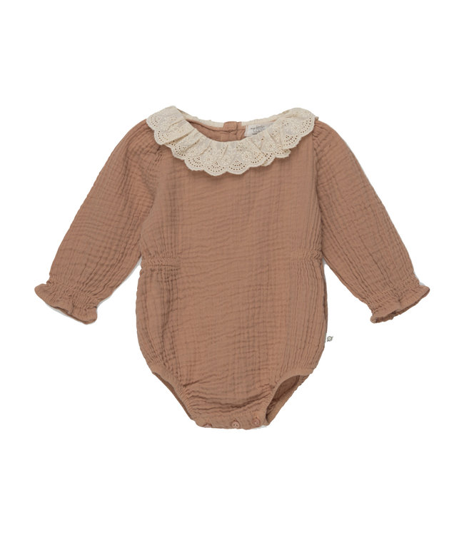 Julie organic baby lace romper - pink