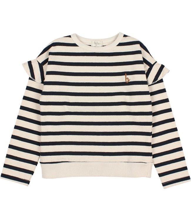 Buho Ruffle navy stripes t-shirt -ecru