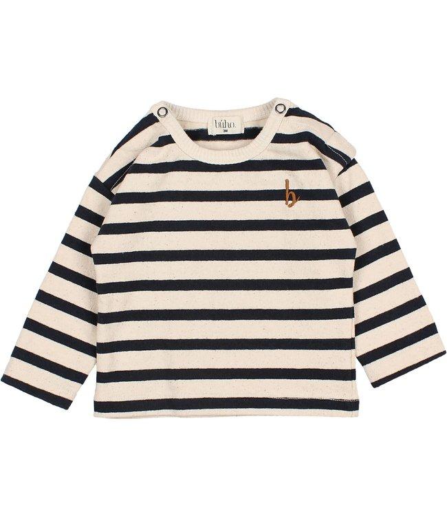 Buho Baby navy stripes t-shirt - ecru