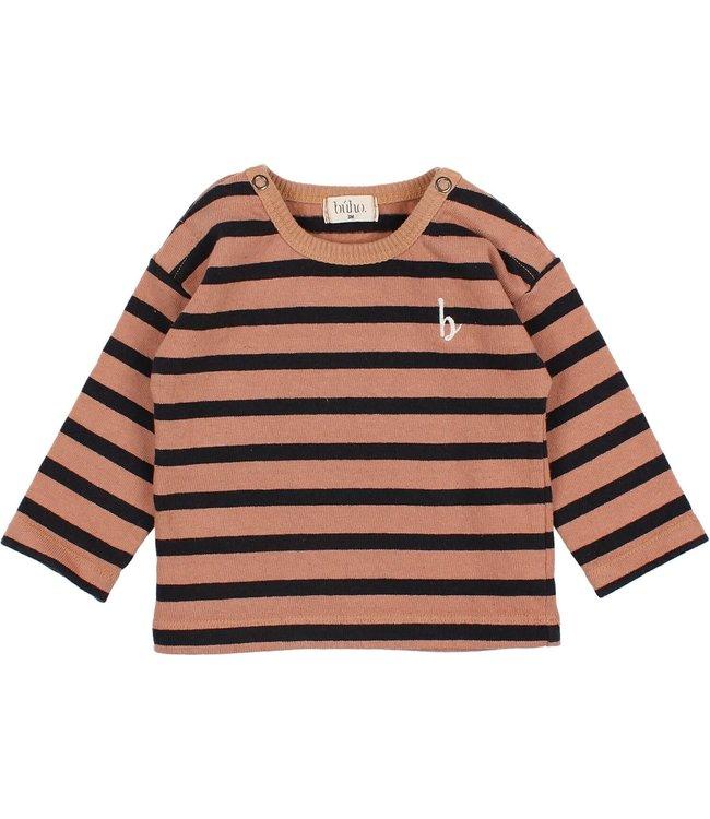 Buho Baby navy stripes t-shirt - hazel