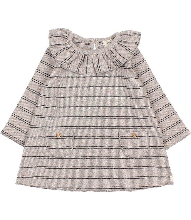 Baby soft rib dress - stripes stone