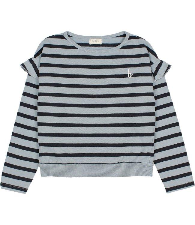 Ruffle navy stripes t-shirt - storm grey