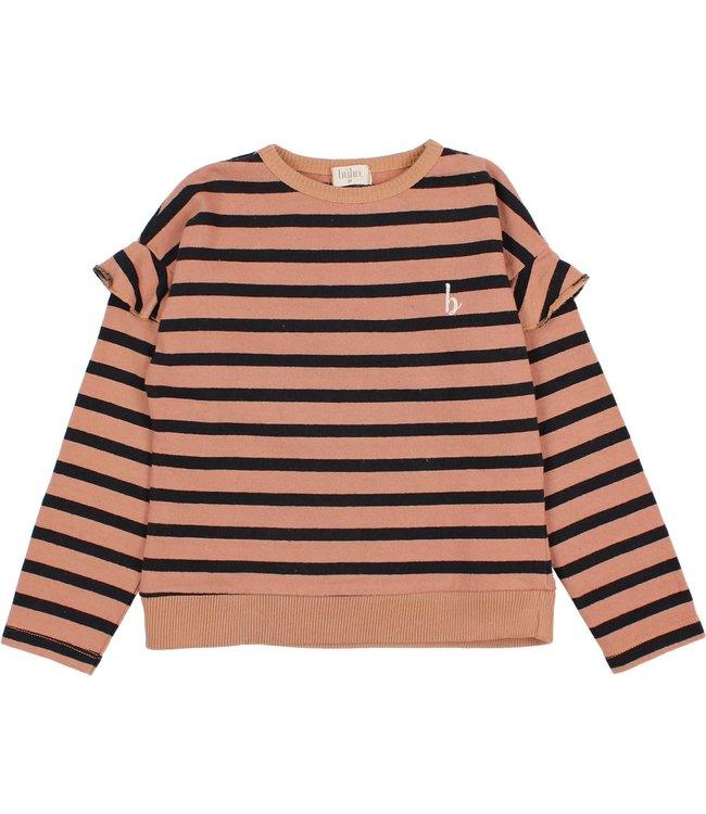 Ruffle navy stripes t-shirt - hazel