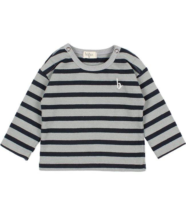 Buho Baby navy stripes t-shirt - storm grey