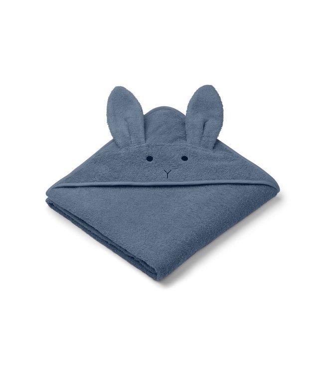 Liewood Augusta hooded towel - rabbit blue wave