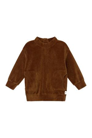 My little cozmo Axel organic baby velour sweatshirt - caramel