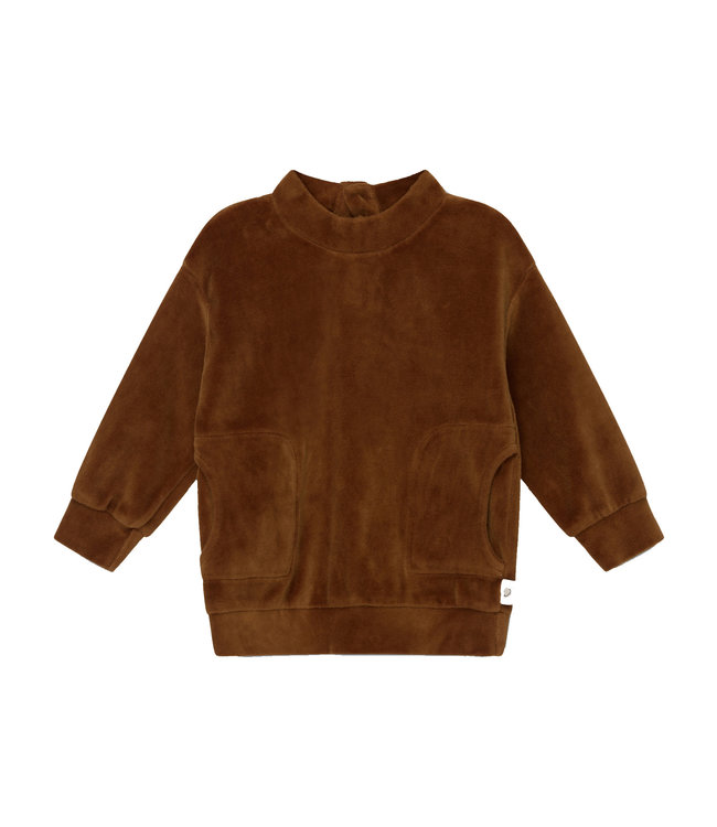 Axel organic baby velour sweatshirt - caramel
