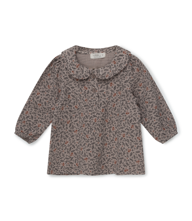 Cecilia organic baby print gauze  blouse - taupe