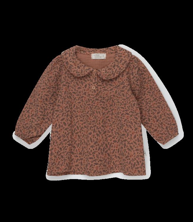 Cecilia organic baby print gauze blouse - brown