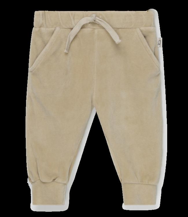 Dylan organic baby velour pants - stone