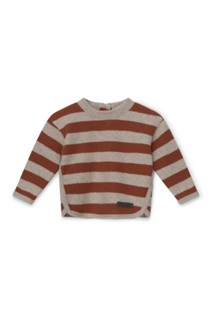 My little cozmo Striped baby sweater recycled - beige brown