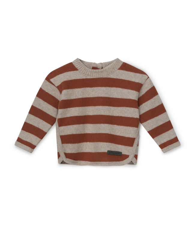 Striped baby sweater recycled - beige brown