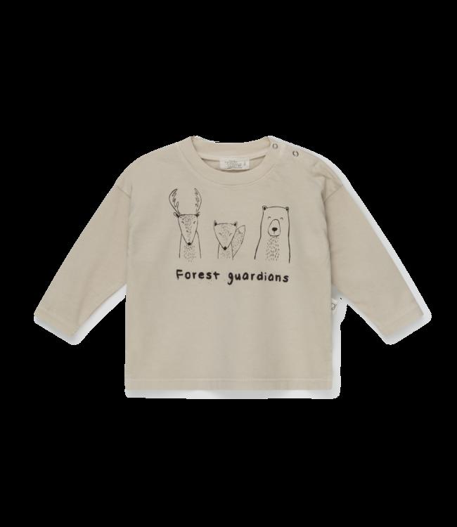 Forest organic baby t-shirt animals - stone