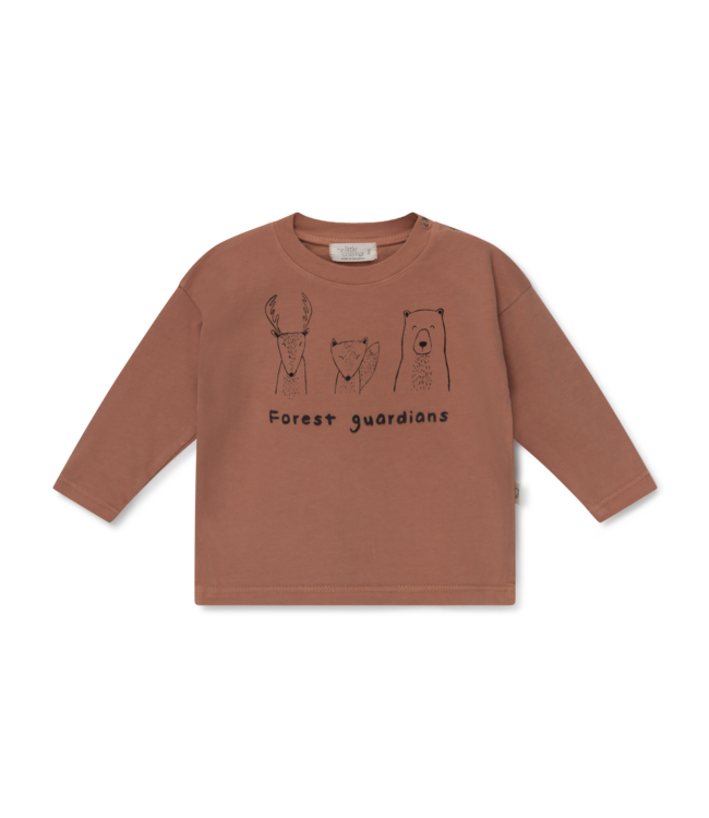 Forest organic baby t-shirt animals - brown