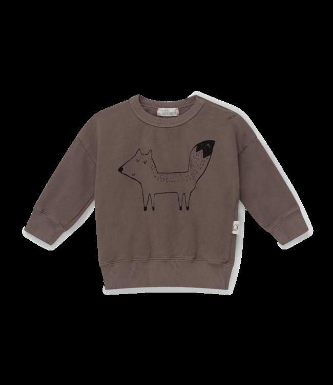Fox organic baby sweatshirt fox - taupe