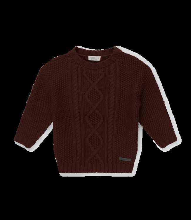 Joss baby cable knit jersey - garnet