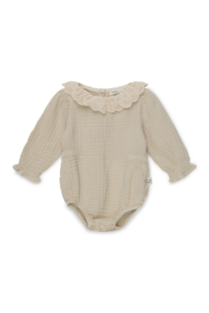 My little cozmo Julie organic baby lace romper - stone