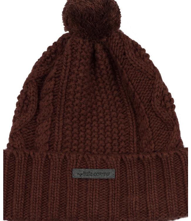 Morgan kids knitted pom pom hat - garnet