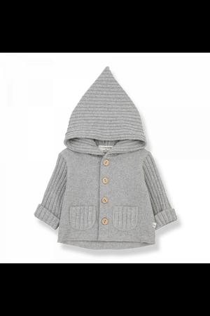 1+inthefamily Elliot newborn hood jacket grey