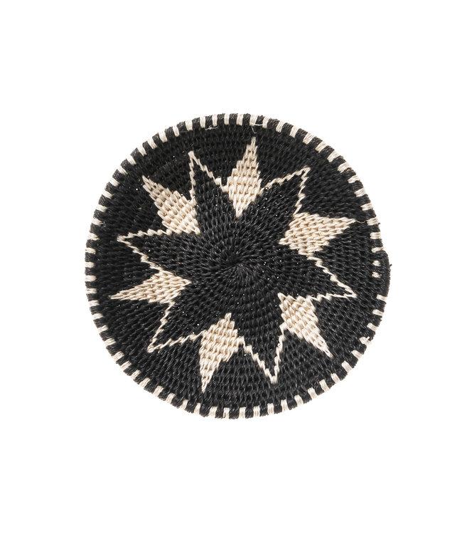 Sisal mand Zienzele zwart/wit Ø15 cm #534