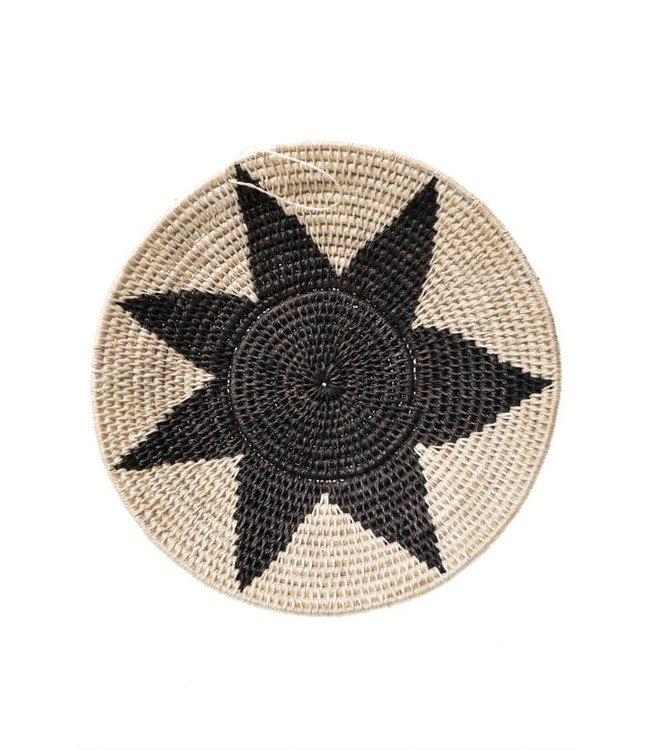 Sisal mand Zienzele zwart/wit Ø20 cm #575