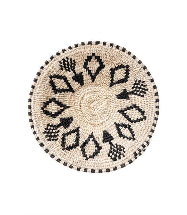 Sisal mand Zienzele zwart/wit Ø20 cm #576