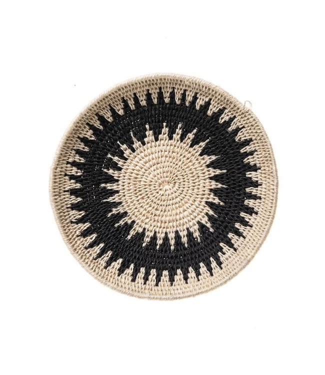 Sisal mand Zienzele zwart/wit Ø20 cm #577
