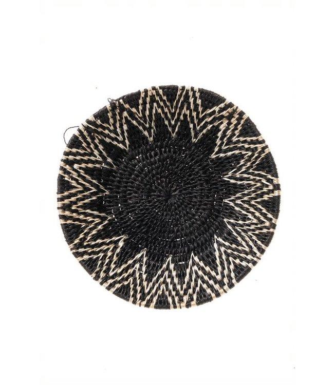 Sisal mand Zienzele zwart/wit Ø20 cm #579