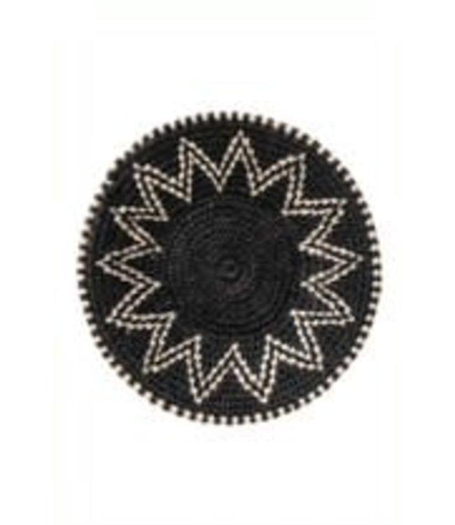 Sisal mand Zienzele zwart/wit Ø20 cm #580