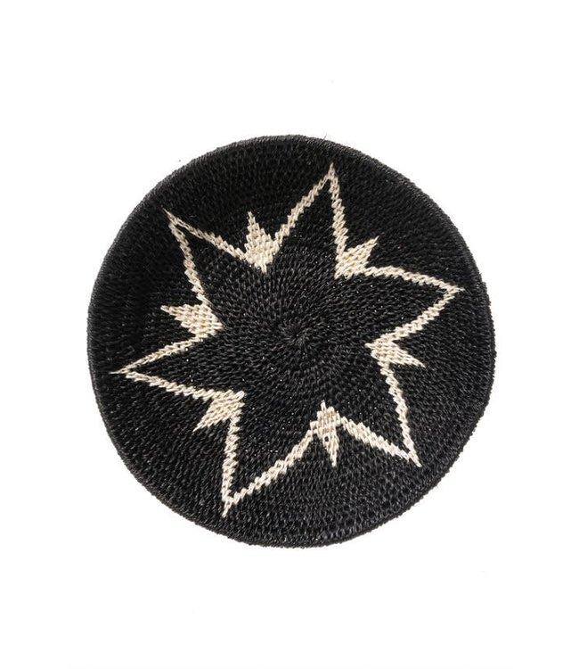Sisal mand Zienzele zwart/wit Ø20 cm #582