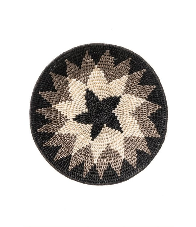 Sisal mand Zienzele zwart/wit Ø20 cm #583
