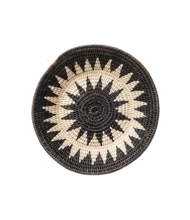 Sisal mand Zienzele zwart/wit Ø20 cm #585