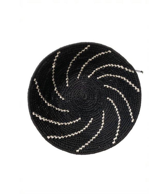 Sisal mand Zienzele zwart/wit Ø25 cm #604