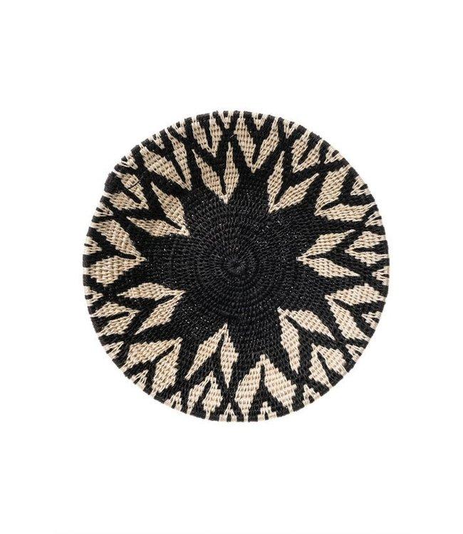 Sisal mand Zienzele zwart/wit Ø25 cm #605
