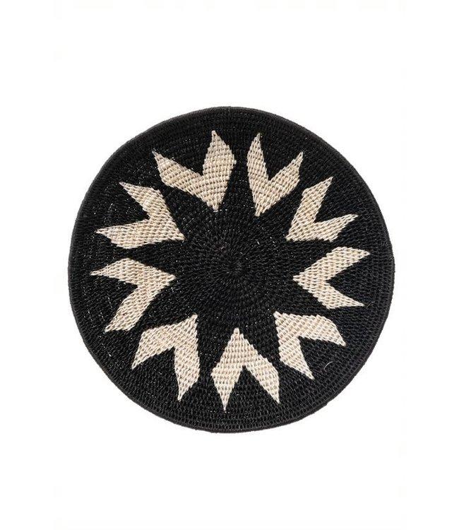 Sisal mand Zienzele zwart/wit Ø25 cm #606