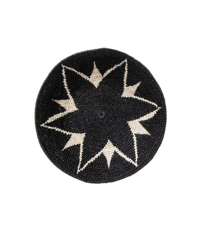 Sisal mand Zienzele zwart/wit Ø25 cm #610