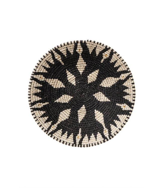 Sisal mand Zienzele zwart/wit Ø25 cm #611
