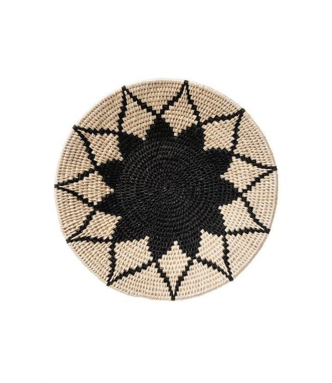 Sisal mand Zienzele zwart/wit Ø25 cm #614
