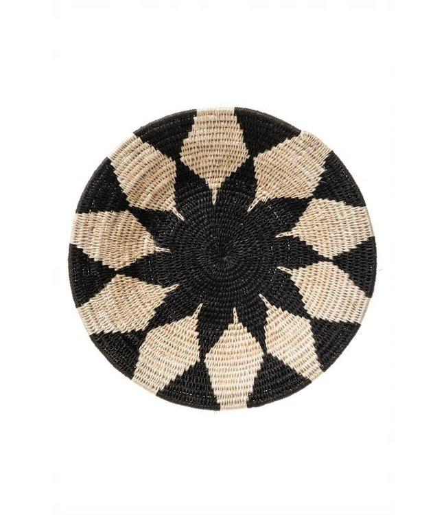 Sisal mand Zienzele zwart/wit Ø25 cm #615