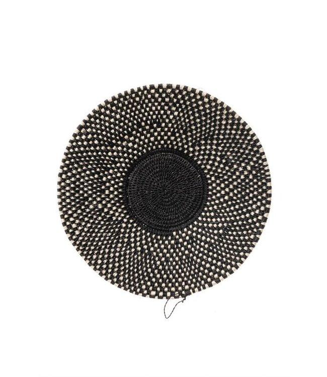 Sisal mand Zienzele zwart/wit Ø25 cm #616