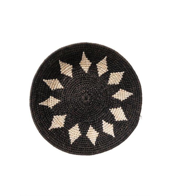 Sisal mand Zienzele zwart/wit Ø25 cm #618