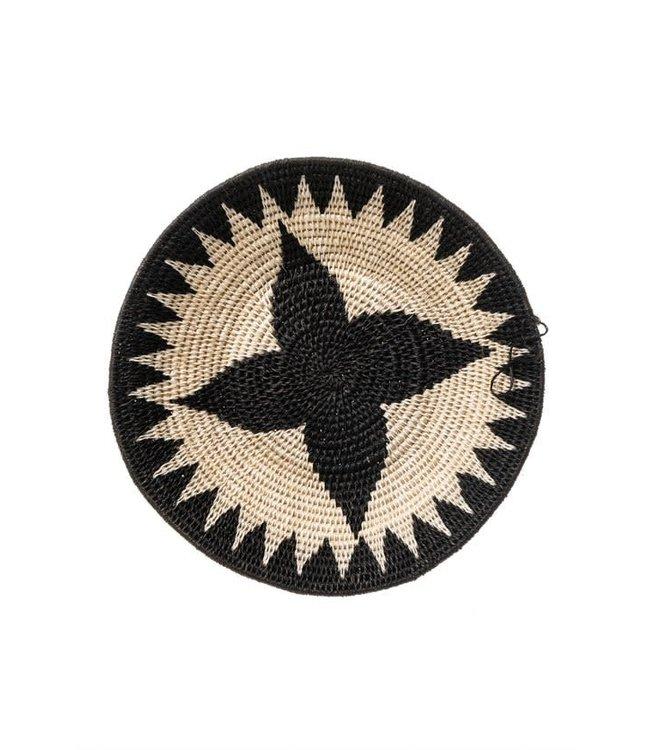Sisal mand Zienzele zwart/wit Ø25 cm #619