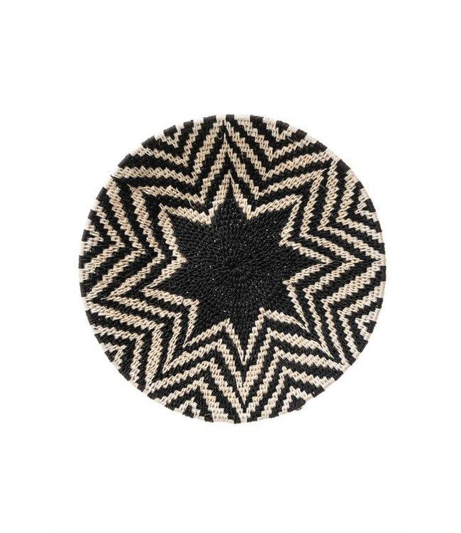 Sisal mand Zienzele zwart/wit Ø25 cm #620