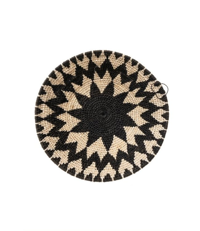 Sisal mand Zienzele zwart/wit Ø25 cm #621