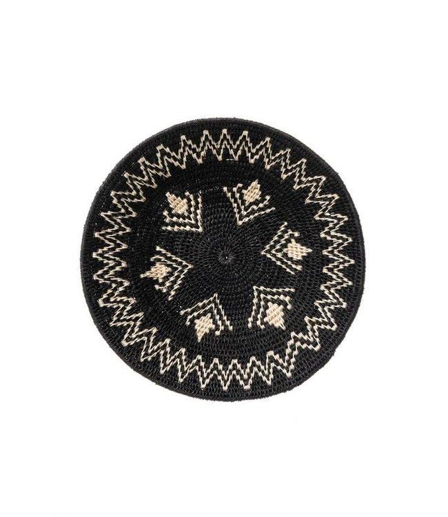 Sisal mand Zienzele zwart/wit Ø25 cm #622